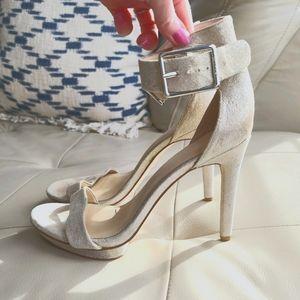 Calvin klein shimmer ankle strap heel sandal sz 8